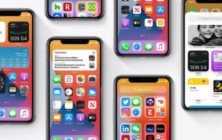 6-iphone-posés-sur-une-table-affichants-l'écran-d'accueil-avec-les-icônes-d'applications